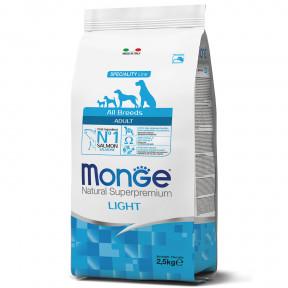 Сухой корм для собак Monge Dog Speciality line Light низкокалорийный, лосось с рисом 2.5 кг