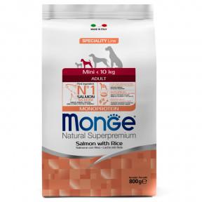 Сухой корм для собак Monge Speciality line лосось с рисом (для мелких пород) 800 г