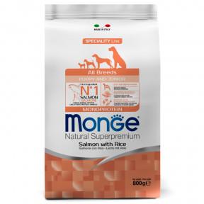 Сухой корм для щенков Monge Speciality line лосось с рисом 800 г