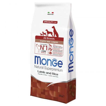 Сухой корм для щенков Monge Speciality line ягненок с рисом 12 кг