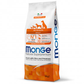 Сухой корм для собак Monge Speciality line утка с рисом и картофелем 12 кг