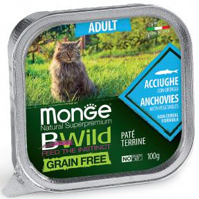 Влажный корм для кошек Monge BWild беззерновой, с анчоусом и с овощами (паштет) 100 г