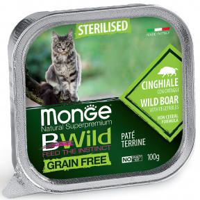 Влажный корм для кошек Monge BWild беззерновой, с кабаном и с овощами для стерилизованных кошек (паштет) 100 г