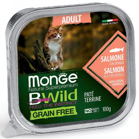 Влажный корм для кошек Monge BWild беззерновой, с лососем и с овощами (паштет) 100 г