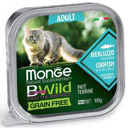 Влажный корм для кошек Monge BWild беззерновой, с треской и с овощами (паштет) 100 г