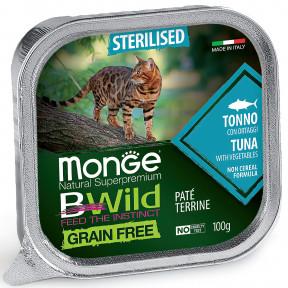 Влажный корм для кошек Monge BWild беззерновой, с тунцом и с овощами для стерилизованных кошек (паштет) 100 г
