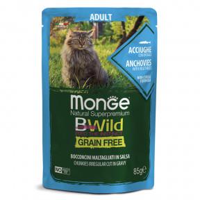 Влажный корм для кошек Monge BWild беззерновой, паучи с анчоусом и с овощами 85 г