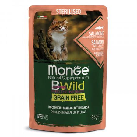 Влажный корм для кошек Monge BWild беззерновой, паучи с лососем с креветками и с овощами для стерилизованных кошек 85 г