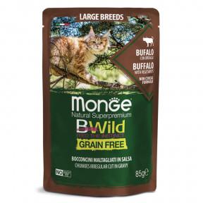 Влажный корм для кошек Monge BWild беззерновой, паучи с буйволом и с овощами для крупных пород 85 г