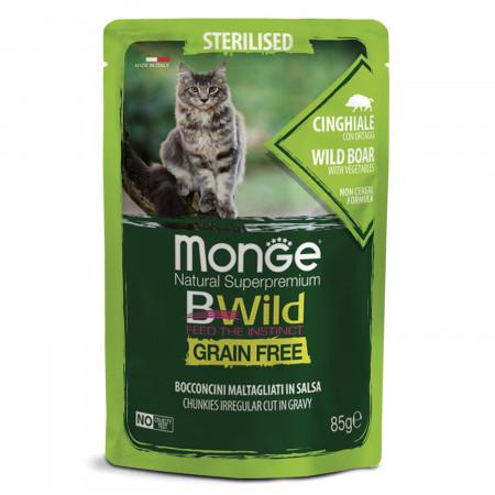 Влажный корм для кошек Monge BWild беззерновой, паучи с диким кабаном и с овощами для стерилизованных кошек 85 г