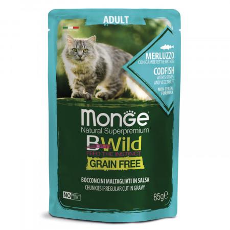 Влажный корм для кошек Monge BWild беззерновой, паучи с треской с креветками и с овощами 85 г