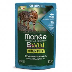 Влажный корм для кошек Monge BWild беззерновой, паучи с тунцом с креветками и с овощами для стерилизованных кошек 85 г