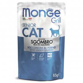 Влажный корм для пожилых кошек Monge Grill беззерновой, паучи с эквадорской макрелью (кусочки в желе) 85 г