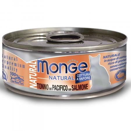 Влажный корм для кошек Monge Natural с тунцом и с лососем 80 г