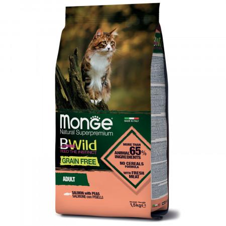 Сухой корм для кошек Monge BWild беззерновой, с лососем и с горошком 1.5 кг