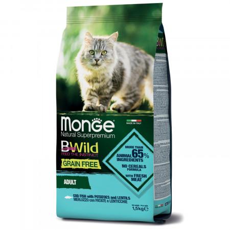Сухой корм для кошек Monge BWild беззерновой, с треской с картофелем и с чечевицей 1.5 кг