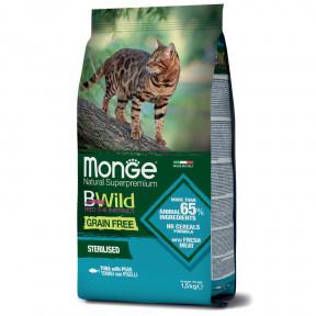 Сухой корм для стерилизованных кошек Monge BWild беззерновой, с тунцом и с горошком 1.5 кг