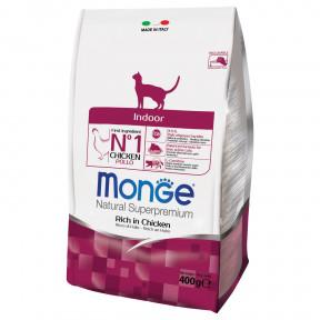 Сухой корм для кошек Monge Natural Superpremium Indoor для кошек, живущих в помещении, с курицей 400 г