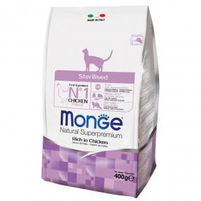 Сухой корм для стерилизованных кошек Monge Natural Superpremium Sterilised с курицей 400 г