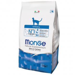 Сухой корм для кошек Monge Natural Superpremium Urinary для профилактики МКБ, с курицей 1.5 кг