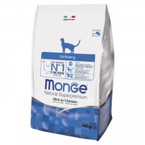 Сухой корм для кошек Monge Natural Superpremium Urinary для профилактики МКБ, с курицей 400 г
