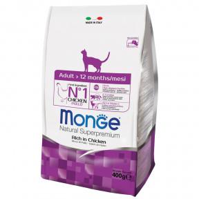 Сухой корм для кошек Monge Natural Superpremium Adult для взрослых кошек, с курицей 400 г