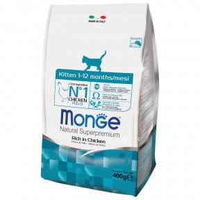 Сухой корм для котят Monge Natural Superpremium Kitten с курицей 400 г