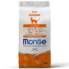 Сухой корм для стерилизованных кошек Monge Natural Superpremium Monoprotein с уткой 1.5 кг