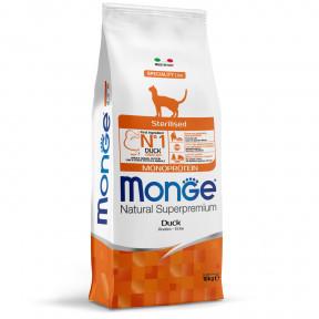 Сухой корм для стерилизованных кошек Monge Natural Superpremium Monoprotein с уткой 10 кг