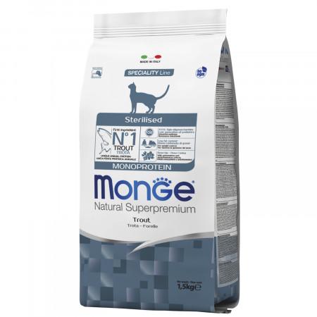 Сухой корм для стерилизованных кошек Monge Natural Superpremium Monoprotein с форелью 1.5 кг