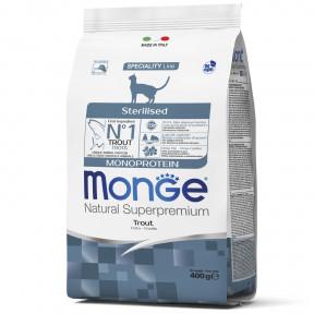 Сухой корм для стерилизованных кошек Monge Natural Superpremium Monoprotein с форелью 400 г