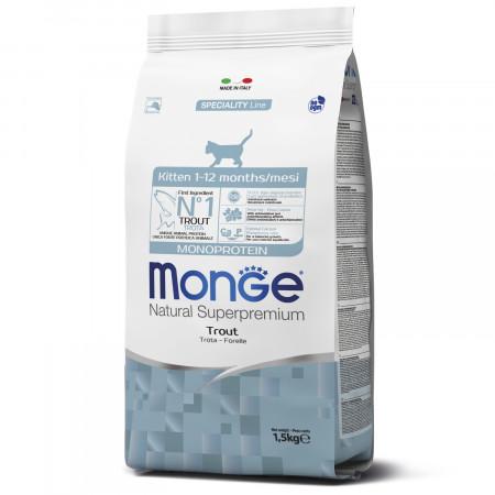 Сухой корм для котят Monge Natural Superpremium Monoprotein с форелью 1.5 кг
