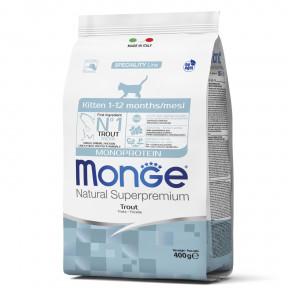 Сухой корм для котят Monge Natural Superpremium Monoprotein с форелью 400 г