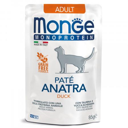 Влажный корм для кошек Monge Monoprotein, беззерновой, с уткой (паштет) 85 г