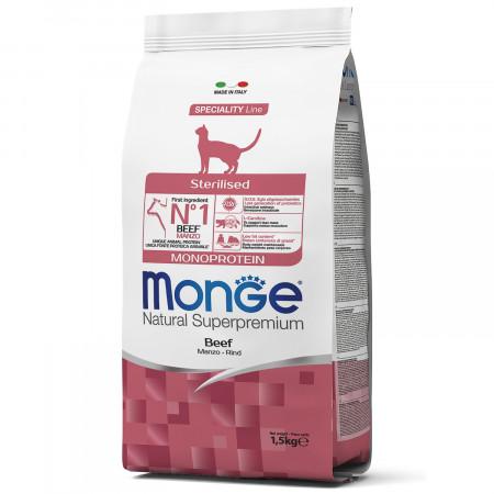 Сухой корм для стерилизованных кошек Monge Natural Superpremium Monoprotein с говядиной 1.5 кг