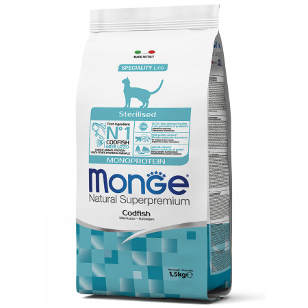 Сухой корм для стерилизованных кошек Monge Natural Superpremium Monoprotein с треской 1.5 кг