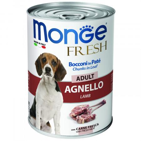 Влажный корм для собак Monge Fresh Сhunks in Loaf мясной рулет с ягненком 400 г