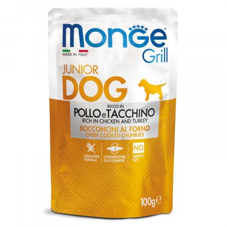 Влажный корм для щенков Monge Grill беззерновой с курицей, с индейкой 100 г