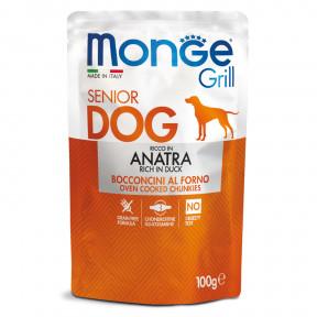 Влажный корм для пожилых собак Monge Grill беззерновой с уткой 100 г
