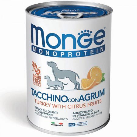 Влажный корм для собак Monge Monoprotein индейка, рис и цитрус 400 г