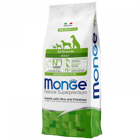 Сухой корм для собак Monge Speciality line кролик с рисом и картофелем 12 кг