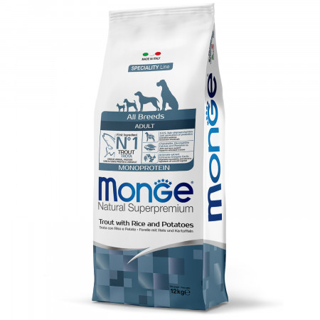 Сухой корм для собак Monge Speciality line Monoprotein форель с рисом и картофелем 12 кг